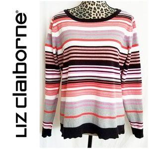 Liz Claiborne Striped Long Sleeve Sweater